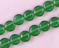 16 Inch Strand Green 8mm Coin Cats Eye Beads